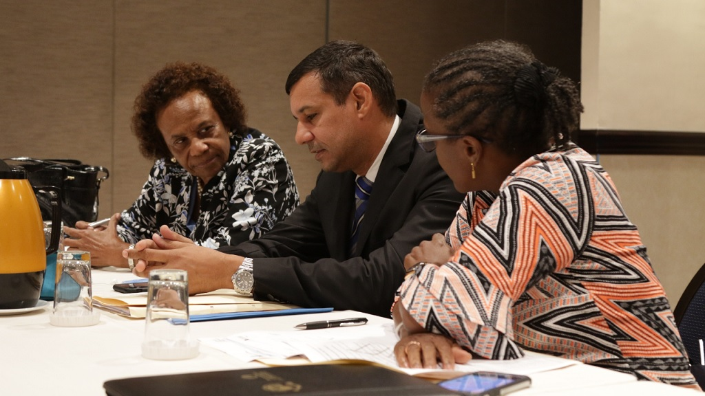 Kent Gammon (centre), chairman of theIndependent Anti-Doping Disciplinary Panel, in conversation with other members of the panel Dr Marjorie Vassell (left) and Denise Forrest just before the  preliminary hearing in the matter of Briana Williams vs JADCO at the Jamaica Pegasus Hotel on Tuesday, September 10, 2019. (PHOTOS: Ramon Lindsay).
