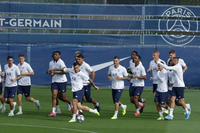 Les joueurs du Paris SG préparent le choc contre le Real Madrid au Camp des Loges, le centre d'entraînement du club, le 17 septembre 2019