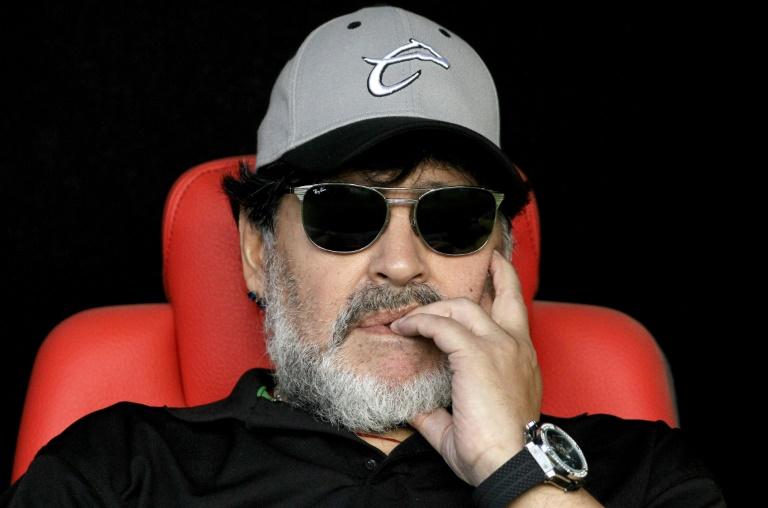 Diego Maradona, alors entraîneur des Dorados de Sinaloa (2e div. mexicaine), lors de la finale retour de la Liga de Ascenco face à l'Atletico San luis, à San Luis Potosi au Mexique, le 5 mai 2019
