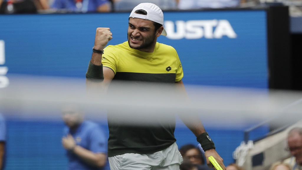 Matteo Berrettini, of Italy, pumps his fist after winning a point against Gael Monfils, of France, during the quarterfinals of the U.S. Open tennis championships Wednesday, Sept. 4, 2019, in New York.