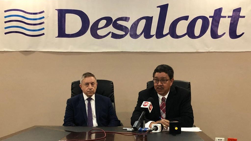 WASA Acting CEO, Alan Poon King and Desalcott General Manager, John Thompson, at news conference to announce planned shutdown of the Pt. Lisas Desal Plant (WASA)
