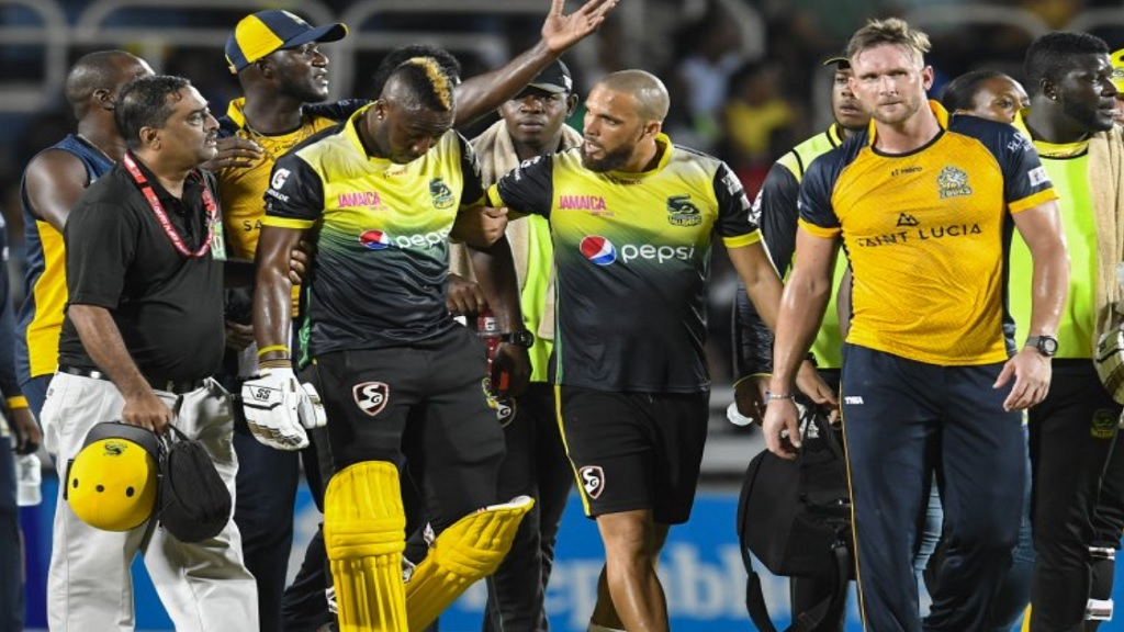 Andre Russell cleared of serious injury after being hit on helmet