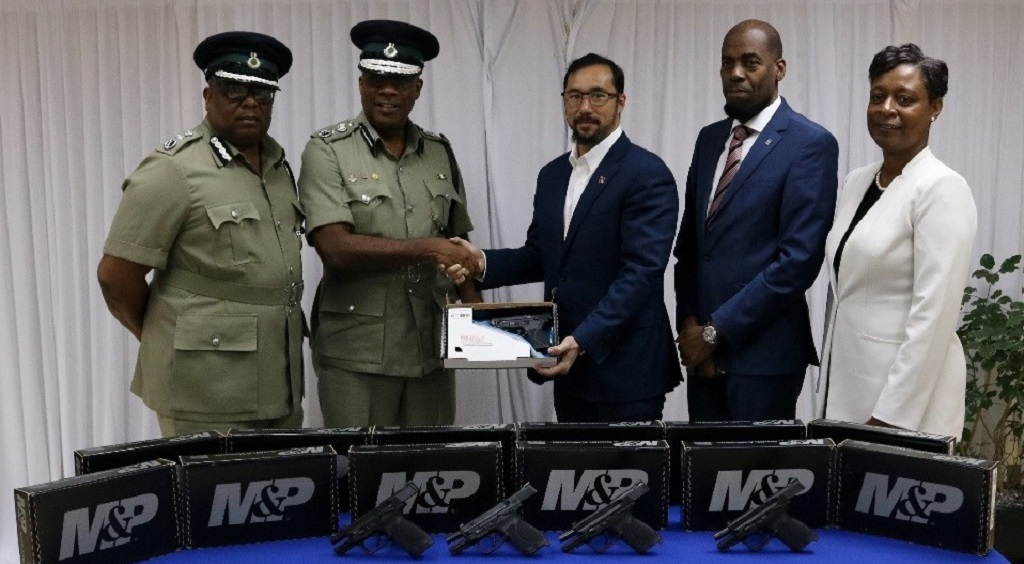 From left to right: Deputy Commissioner of Prisons Dane Clarke; Prisons Commissioner Gerard Wilson; National Security Minister Stuart Young; Permanent Secretary Vel Lewis and Acting Permanent Secretary Penelope Bradshaw-Niles.