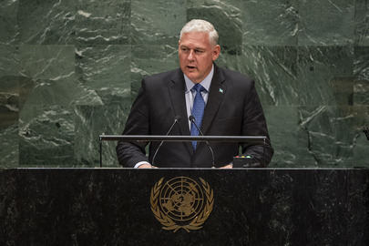 Prime Minister of Saint Lucia Allen Chastenet addresses the 74th session of the United Nations General Assembly