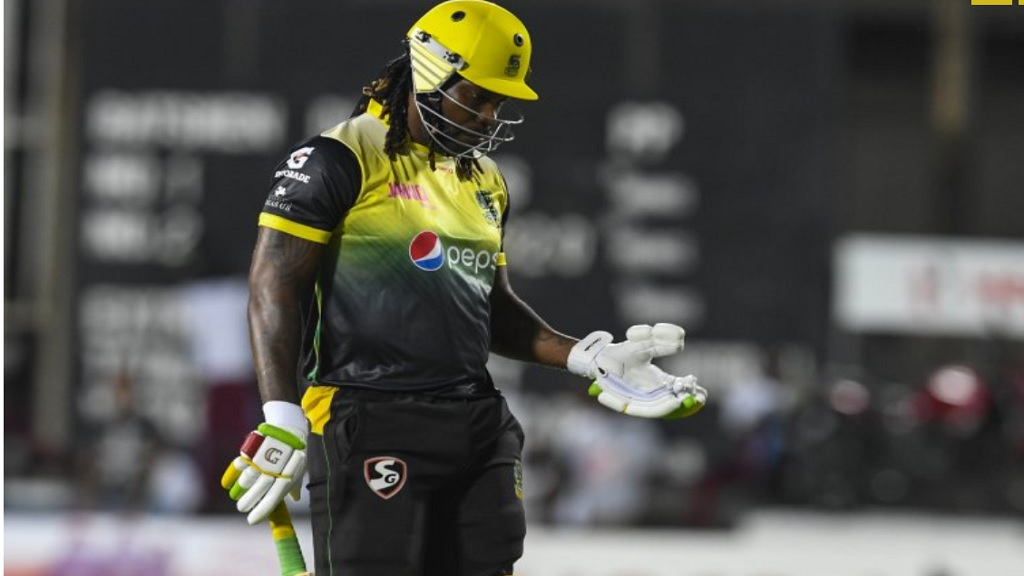 Chris Gayle playing for Jamaica Tallawahs in the ongoing Hero Caribbean Premier League. (Photo by Randy Brooks - CPL T20/Getty Images).