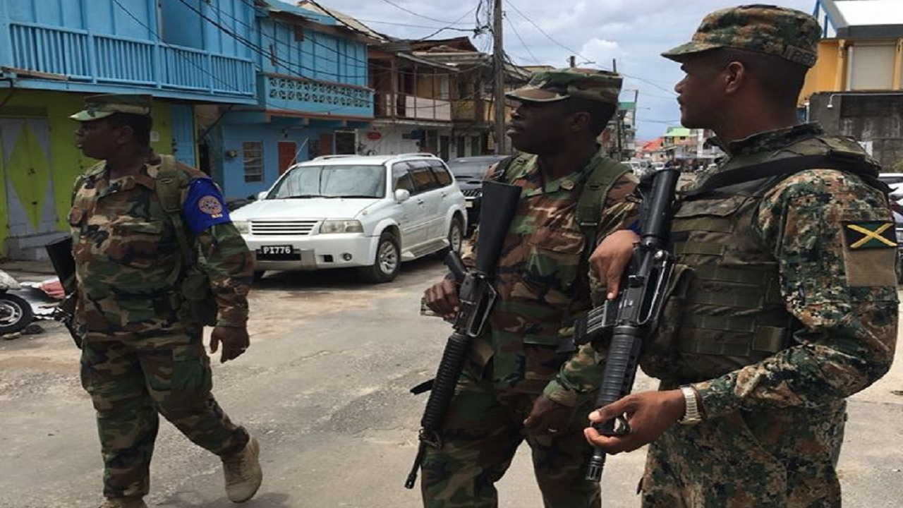 Jamaica Defence Force soldiers monitor activities in Dominica following the passage of the catastrophic Hurricane Maria in that Caribbean island in 2017. (PHOTO: JDF Facebook)