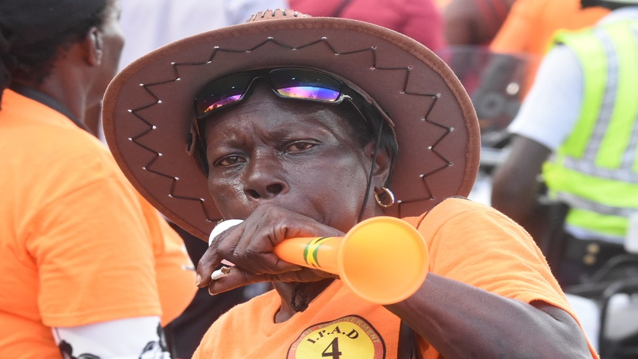 A comrade in really high spirit at the People's National Party (PNP) conference on Sunday. (Photos: Marlon Reid)