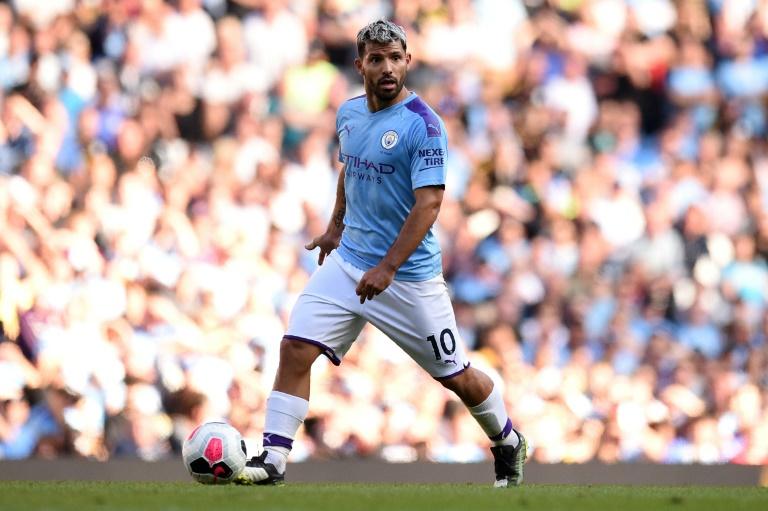 L'attaquant argentin de Manchester City Sergio Agüero contre Watford, le 21 septembre 2019 l'Etihad Stadium de Manchester