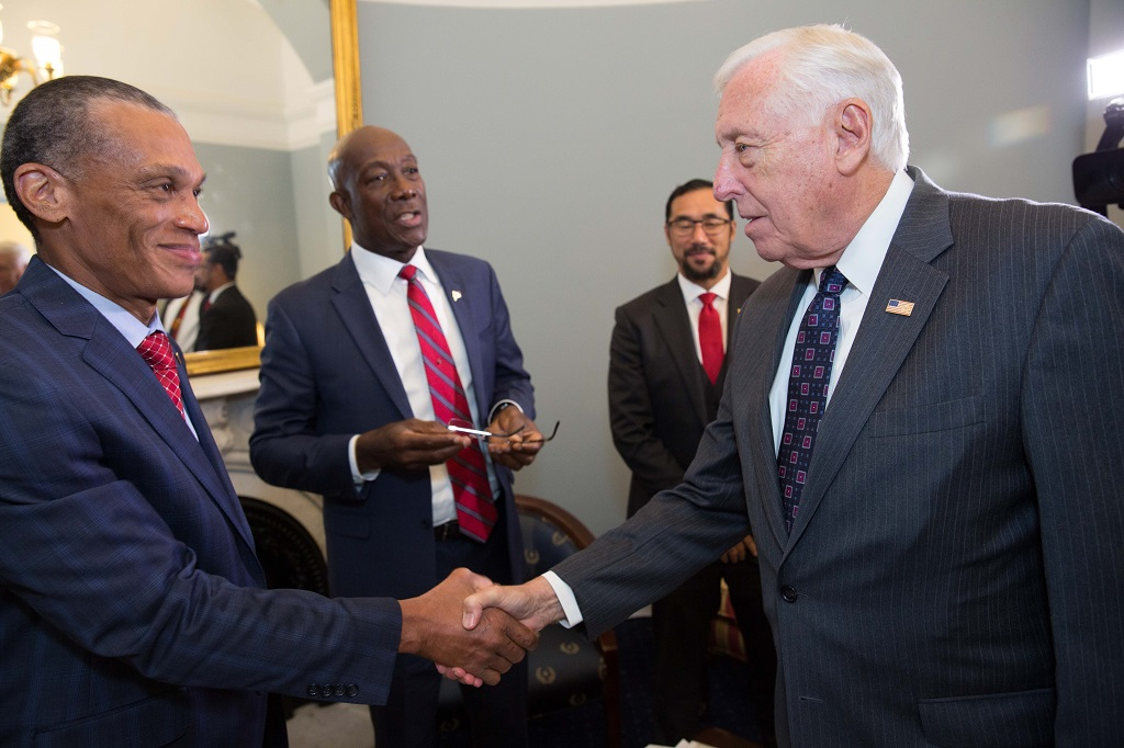 Prime Minister Dr Keith Rowley (second from left), Foreign Affairs Minister Dennis Moses (left), National Security Minister Stuart Young (second from right), meet with Senator Ben Cardin (Democratic-MD).