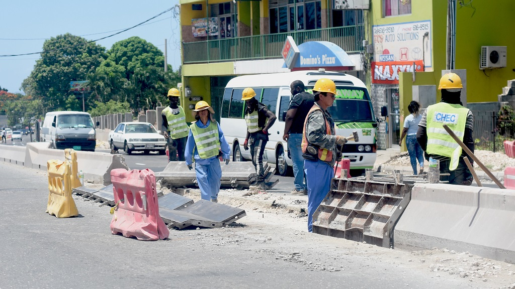 A section of the ongoing improvement work on the Constant Spring Road corridor in St Andrew.