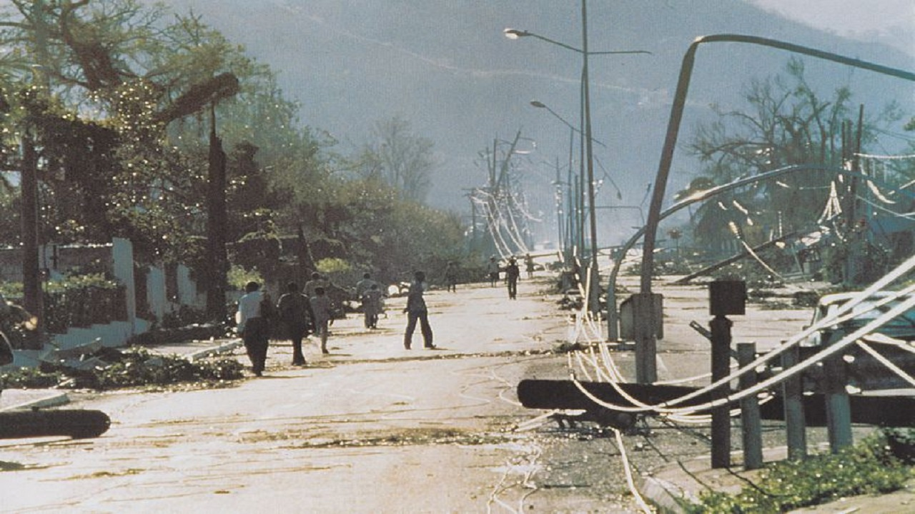 A street in Kingston in the immediate aftermath of Hurricane Gilbert.