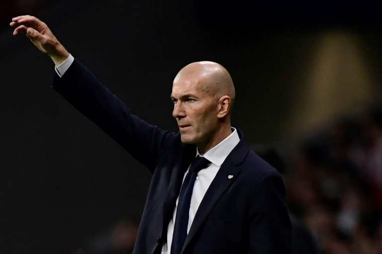 L'entraîneur du Real Madrid Zinedine Zidane lors du match nul avec l'Atlético 0-0 le 28 septembre 2019