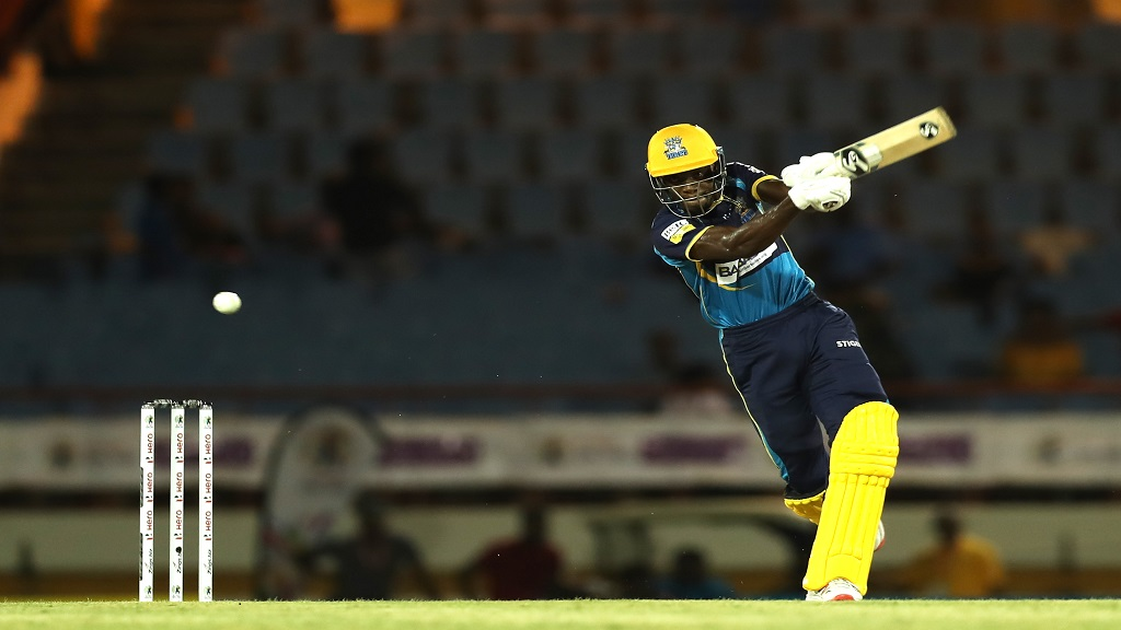 Justin Greaves of Barbados Tridents hits four runs during the Hero Caribbean Premier League match against St Lucia Zouks at the Daren Sammy National Cricket Stadium on September 20, 2019 in Gros Islet, Saint Lucia. (Photos by Ashley Allen - CPL T20/Getty Images).