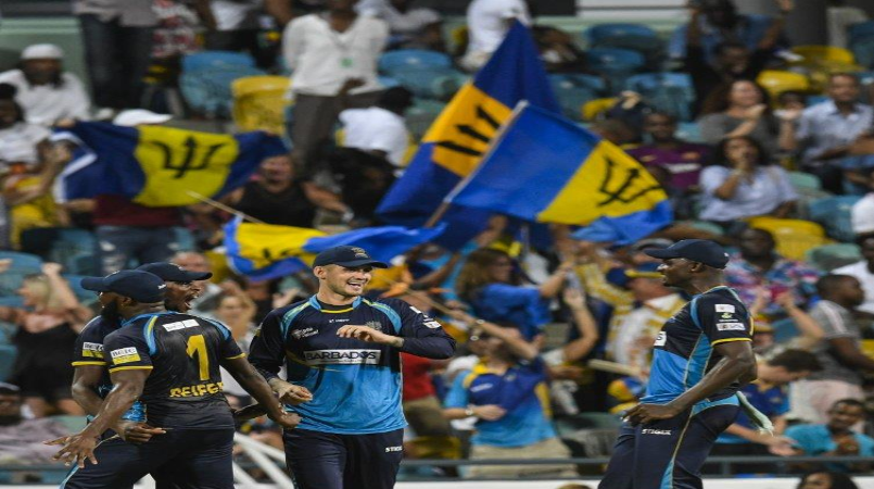 The Barbados Tridents celebrate victory over the St Lucia Zouks and a place in the 2019 CPL play-offs