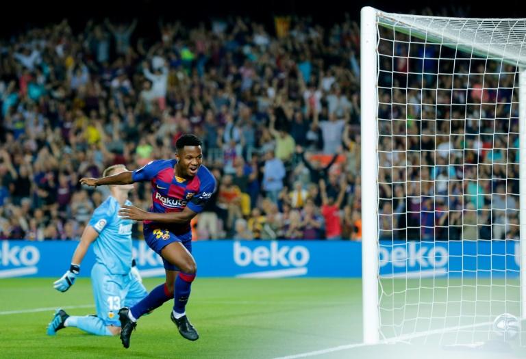 Le jeune attaquant du FC Barcelone Ansu Fati buteur lors de la réception de Valence le 14 septembre 2019