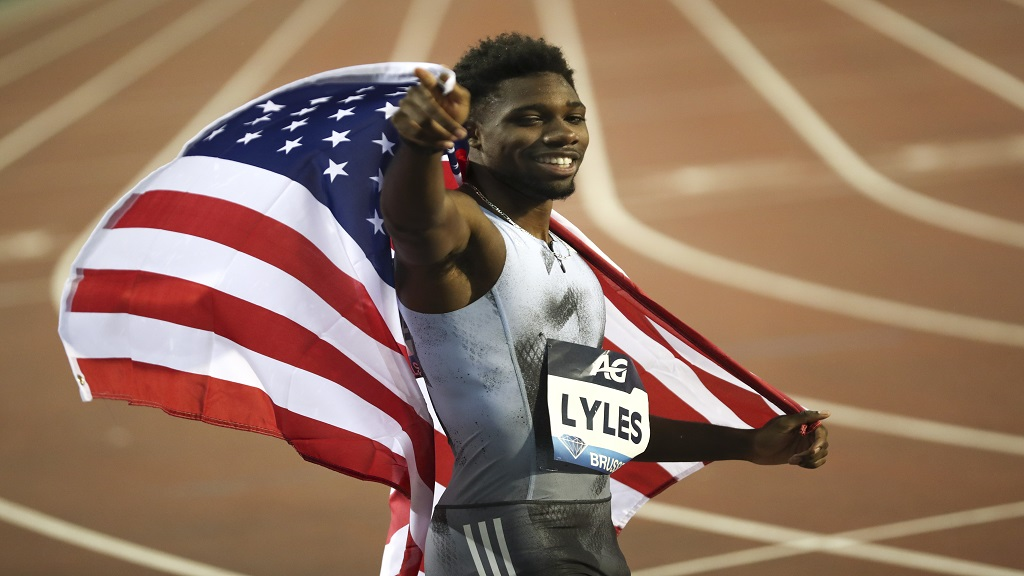 US' Noah Lyles celebrates after winning the Men's 200m during the Diamond League Memorial Van Damme athletics event at the King Baudouin stadium in Brussels, Friday, Sept. 6, 2019. (AP Photo/Francisco Seco).
