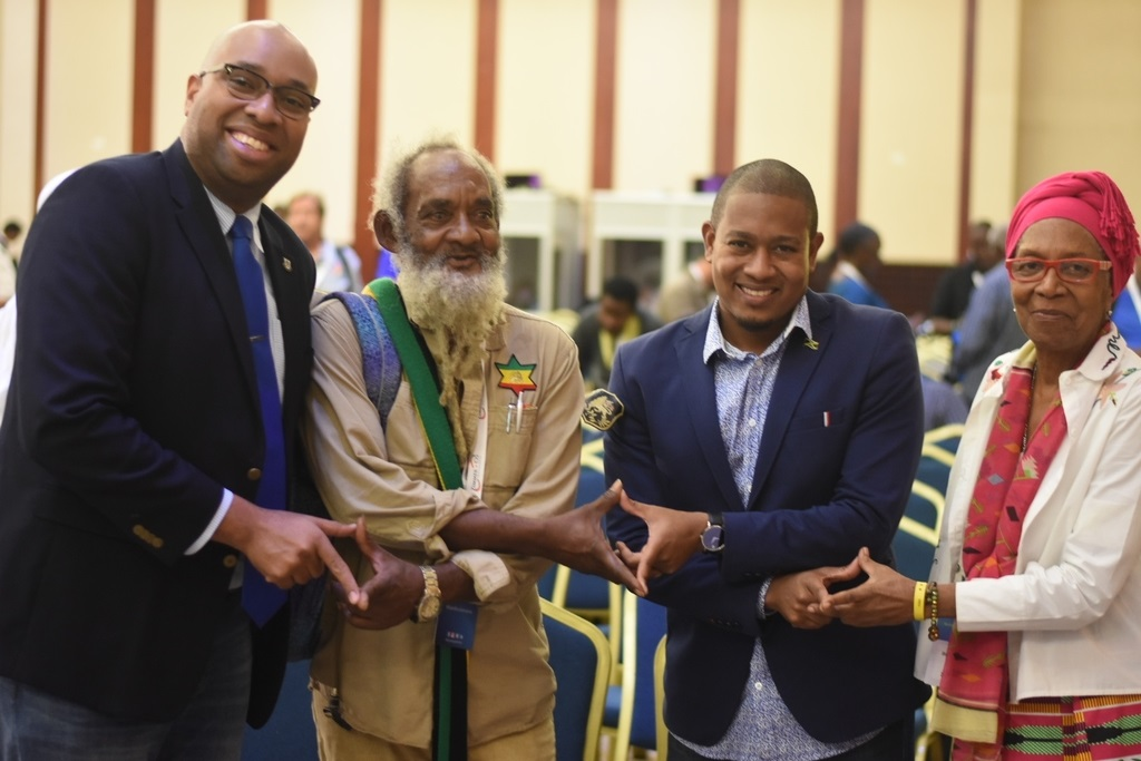 From left to right: Tourism strategist Delano Seiveright, Ganja advocate Ras Iyah V, Floyd Green, State minister in the ministry of industry, commerce and agriculture, and Rastafarian advocate  Barbara Blake Hannah at CanEx in Montego Bay. (Photo: Marlon Reid)