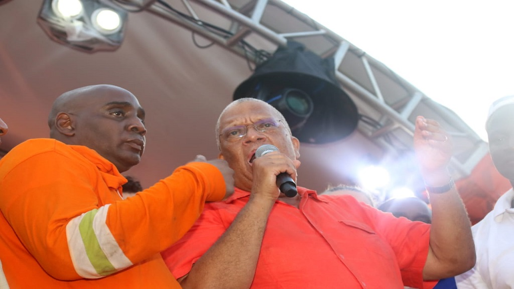 Dr Peter Phillips addresses supporters following his victory in Saturday's PNP presidential election.