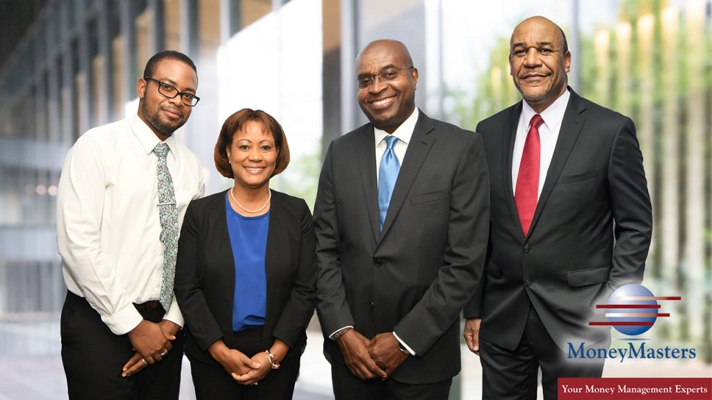From left to right: Stock Fund committee members: Rusaine Reid- Equity Analyst, Claudette Crooks – President of MoneyMasters Limited, Patrick Thelwell – Chairman of MoneyMasters Limited, Mr. Michael McNaughton – Chairman of the Equity Fund Committee.