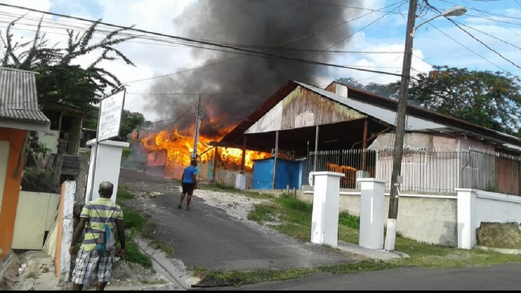 Fire to the back section of the Gayle Market. (Photos: Robert Montague's Facebook page)