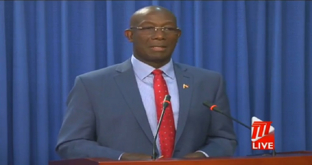 Prime Minister Dr Keith Rowley at the post-cabinet news conference