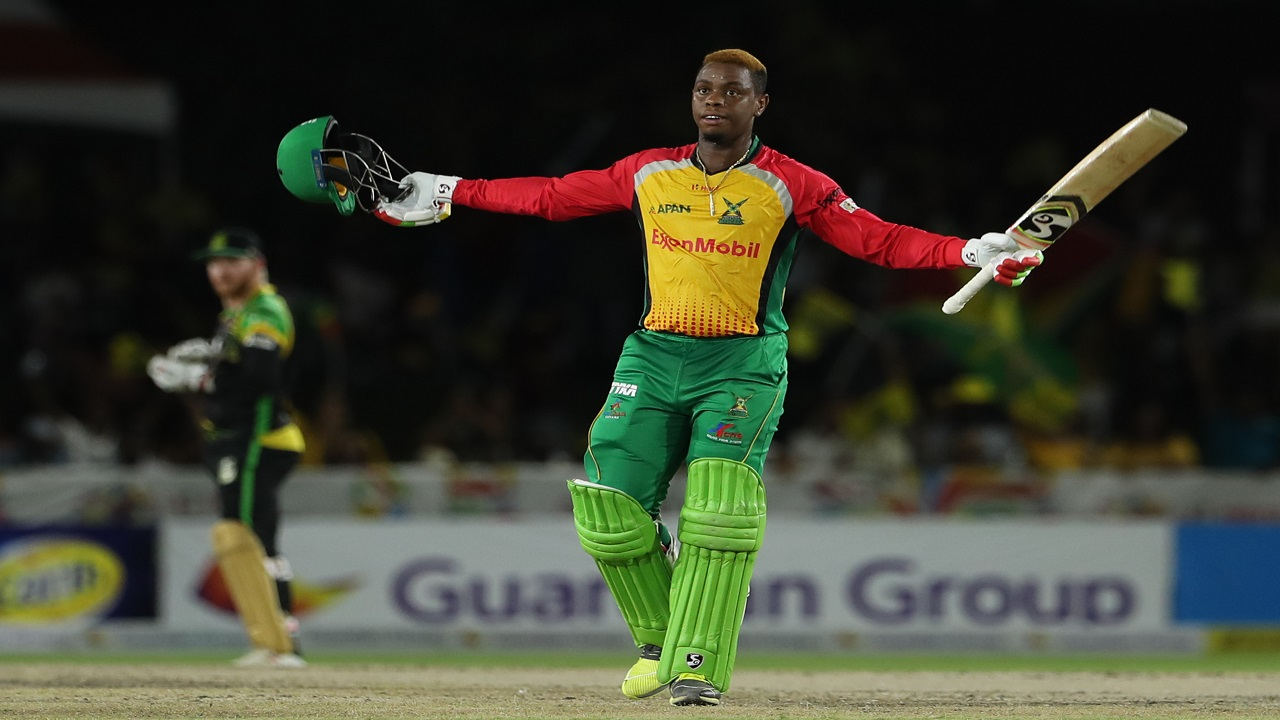Shimron Hetmyer of Guyana Amazon Warriors celebrates his century during the Hero Caribbean Premier League match against Jamaica Tallawahs at the Central Broward Regional Park  in Florida, United States on August 18, 2019. (PHOTO: CPL via Getty Images).