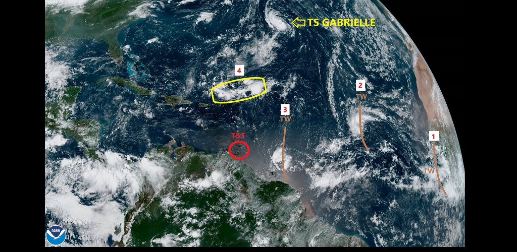 The Trinidad and Tobago Meteorological Service (TTMS) is currently monitoring three Tropical waves in the Atlantic Ocean. (see image for labels)