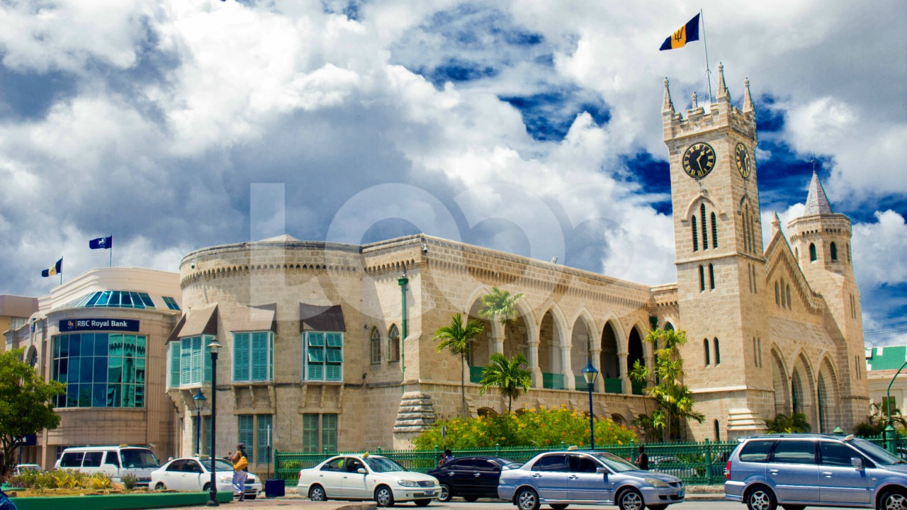 Parliament Buildings from Heroes Square at the top of Broad Street in Bridgetown, Barbados.