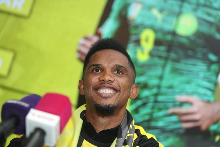 L'attaquant camerounais Samuel Eto'o après la signature de son contrat avec le club du Qatar SC, le 14 août 2018 à Doha