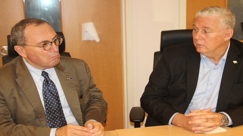European Union Commission's Director-General for International Cooperation and Development Stefano Manservisi and Prime Minister Allen Chastanet