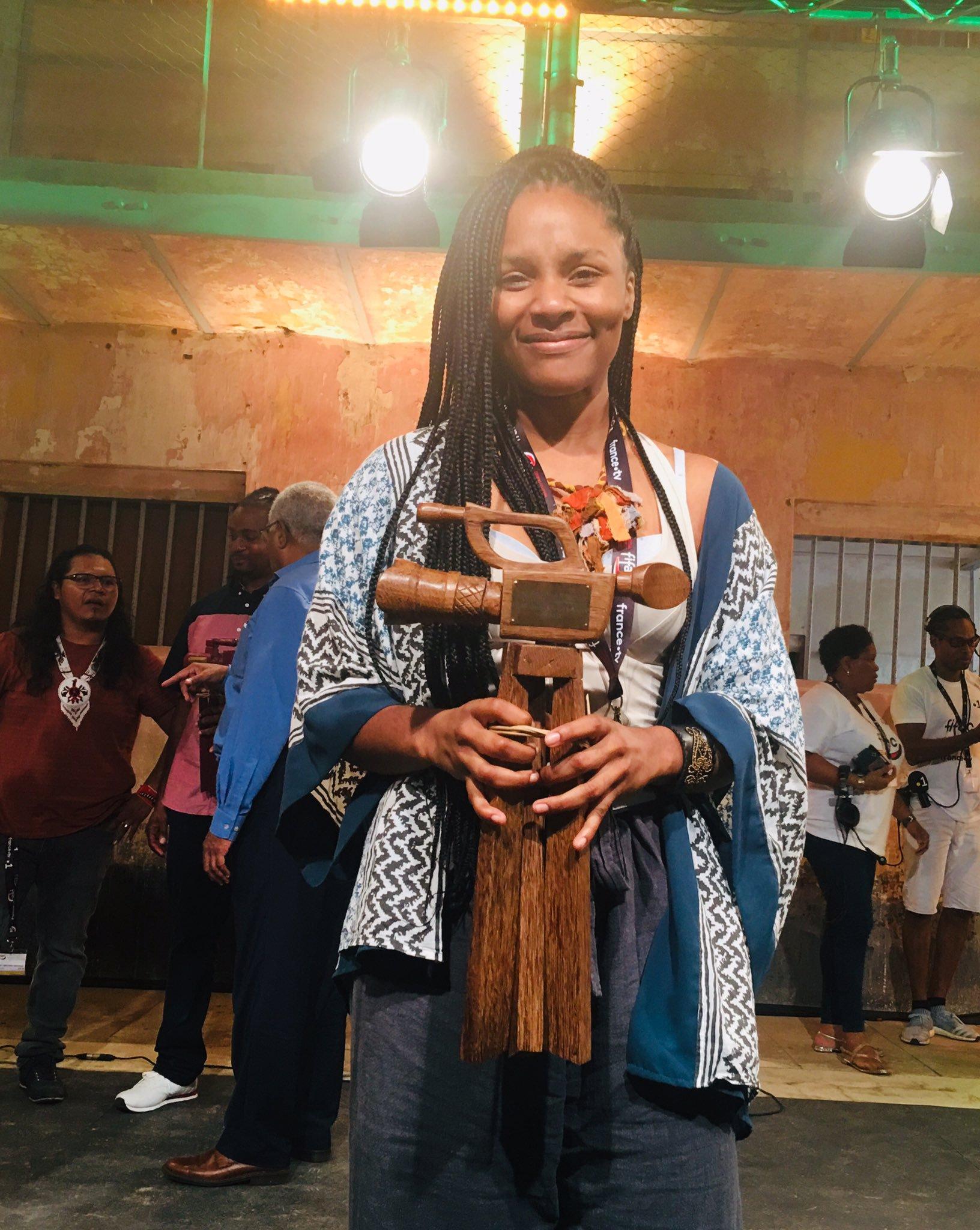 Gessica Généus à la première édition du Festival international du film documentaire Amazonie Caraïbes à Saint-Laurent du Maroni en Guyane (FIFAC). Photo: Guyane la 1ère/ Twitter