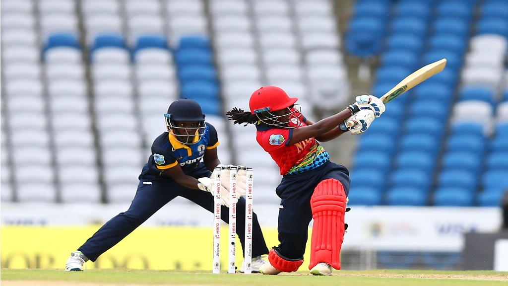 Stafanie Taylor of the NLCB Revellers hits a boundary during the CPL Women's T10 NLCB Challenge clash against Courts Gladiators at the Brian Lara Cricket Academy in Trinidad and Tobago on Thursday, October 10, 2019.