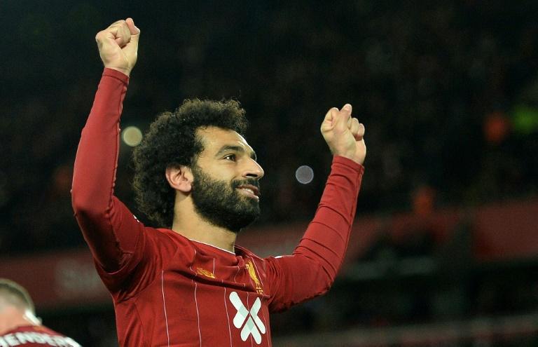 L'attaquant égyptien Mohamed Salah vient de marquer sur penalty contre Tottenham le 27 octobre 2019 à Liverpool