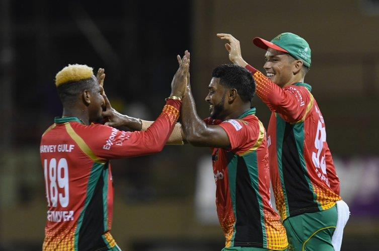 Guyana Amazon Warriors celebrate their ninth win in a row, after defeating the Jamaica Tallawahs by 77 runs at Providence