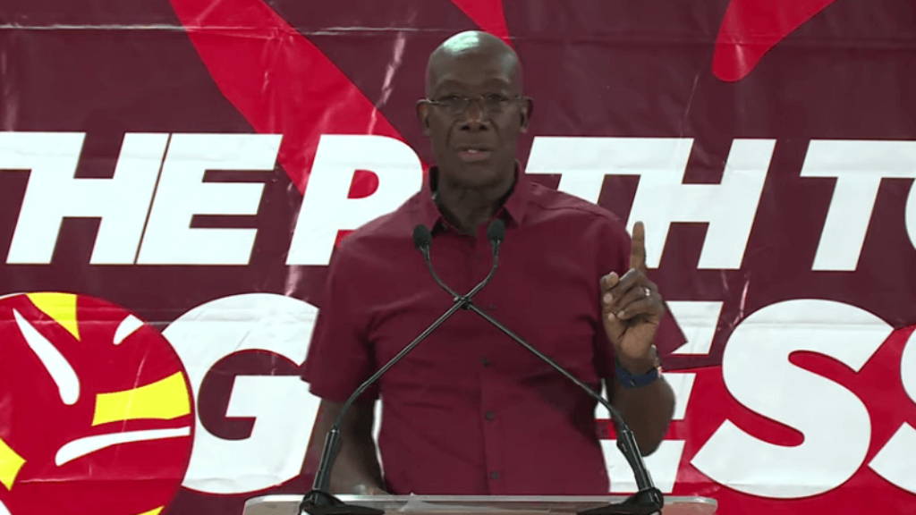 Prime Minister Dr Keith Rowley speaks at a PNM meeting in Pleasantville on July 9, 2019.