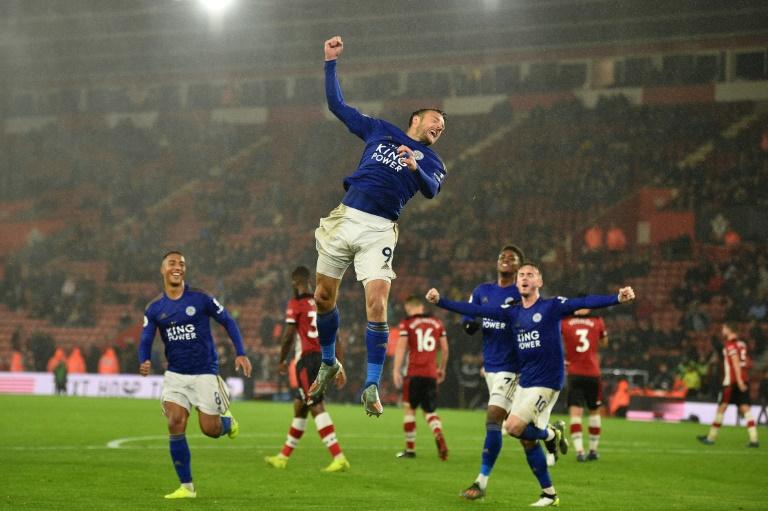 La joie de Jamie Vardy, auteur d'un triplé lors du succès 9-0 de Leicester à Southampton, le 25 octobre 2019