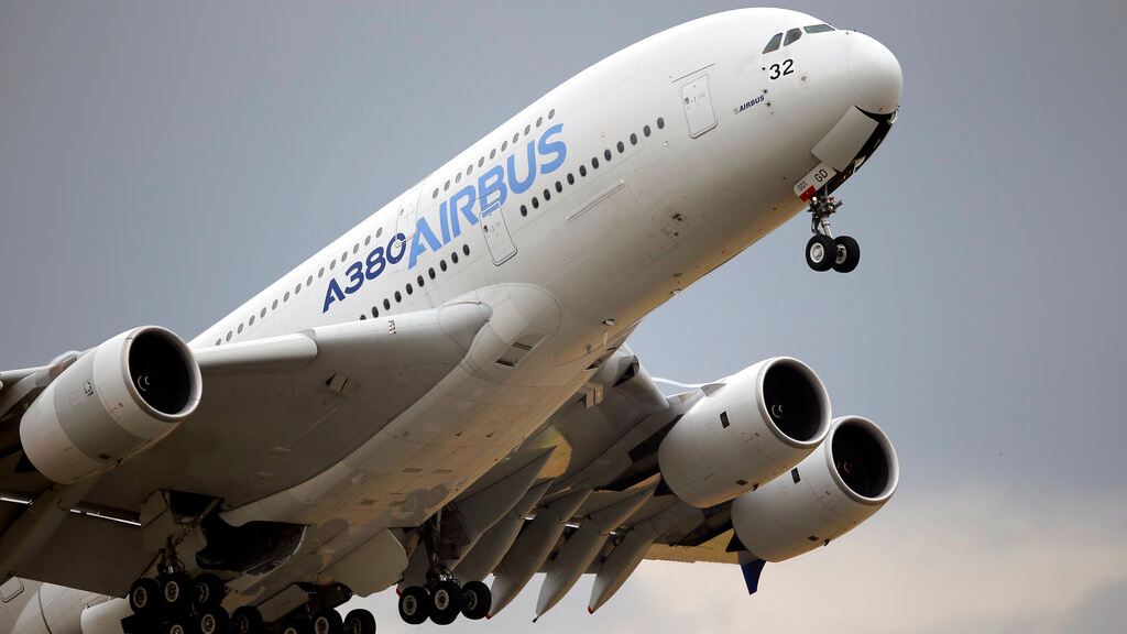 FILE - In this June 18, 2015 file photo, an Airbus A380 takes off for its demonstration flight at the Paris Air Show, in Le Bourget airport, north of Paris. (AP Photo/Francois Mori, File)