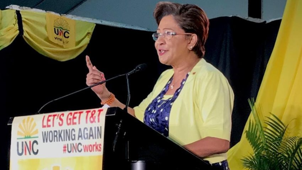Opposition leader Kamla Persad-Bissessar speaks at the UNC's National Congress in Couva on August 18, 2019. Photo via Facebook, United National Congress (UNC).