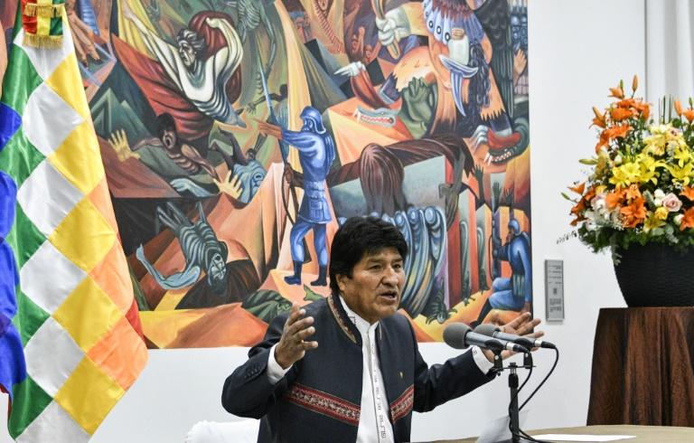 Le président bolivien Evo Morales lors d'une conférence de presse à La Paz, le 24 octobre 2019
