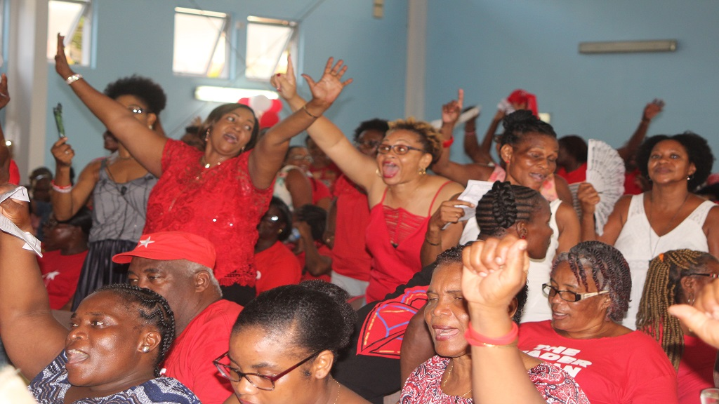 Delegates and non-delegates in full party mode at Sunday's SLP Conference of Delegates