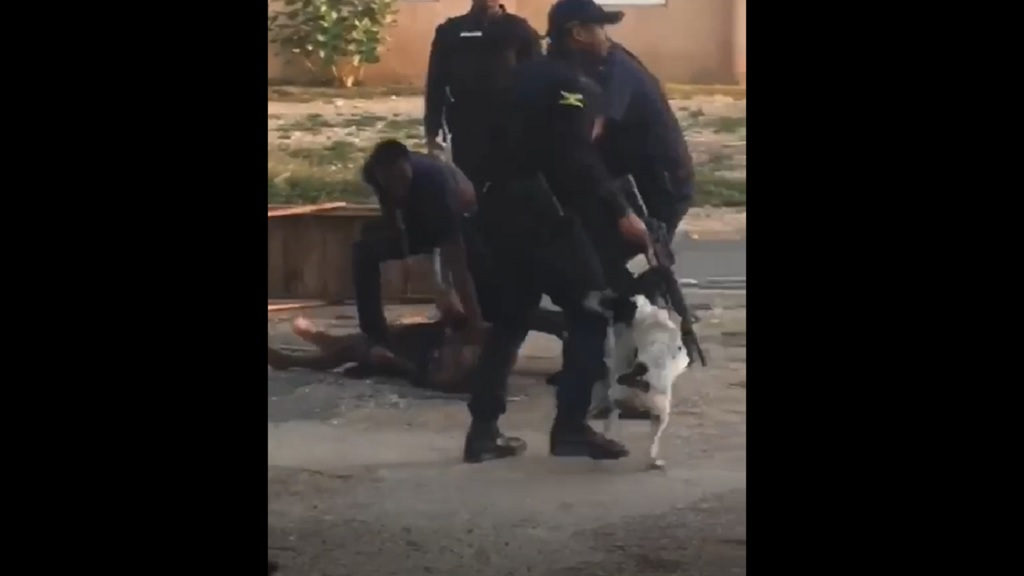 A screen grab from a video of a fight involving a civilian and members of a police team in West Kingston.