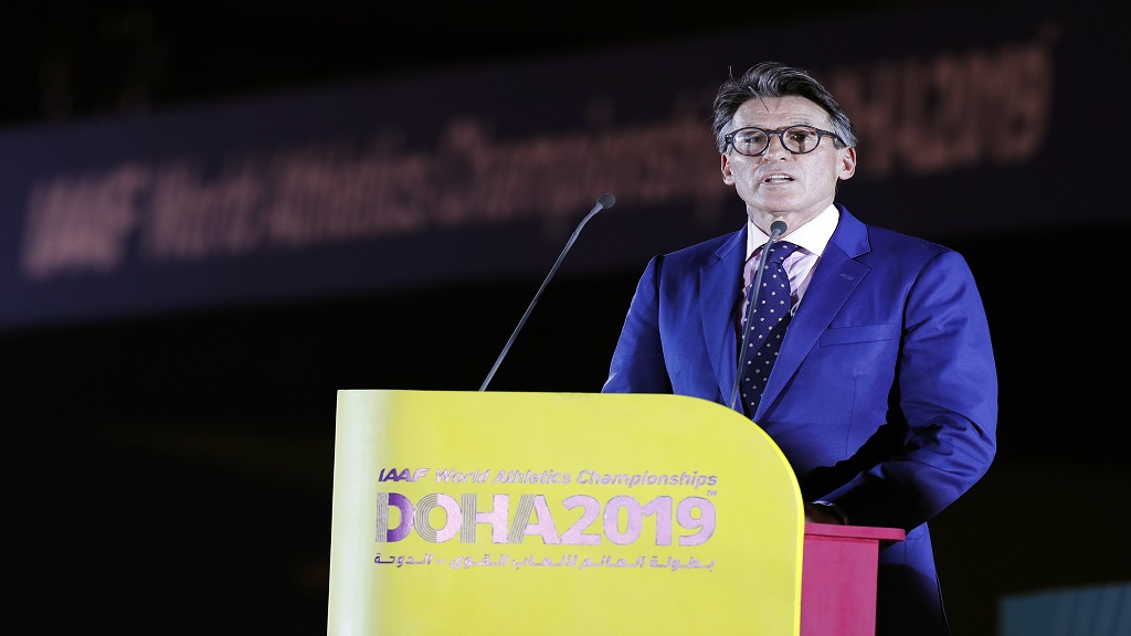 IAAF President Sebastian Coe speaks during the opening ceremony for the World Athletics Championships on the Corniche in Doha, Qatar, Friday, Sept. 27, 2019. (AP Photo/Hassan Ammar).