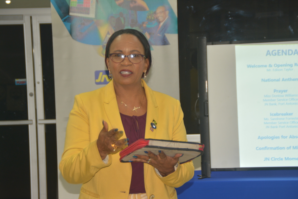 Reverend Dr Carla Dunbar addressing a JN Circle Meeting at JN Bank in Port Antonio, Portland.