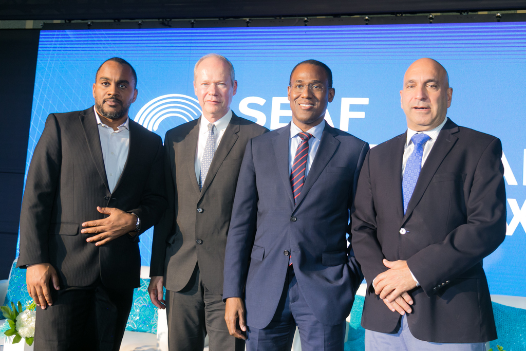 From left: Kevin Donaldson, CEO, Sagicor Investments; Bert van der Vaart, Co-founder and CEO, Small Enterprise Assistance Fund (SEAF); Dr Nigel Clarke, Minister of Finance and the Public Service; Christopher Zacca, President and CEO, Sagicor Group Jamaica at the SEAF Caribbean SME Growth Fund launch recently.