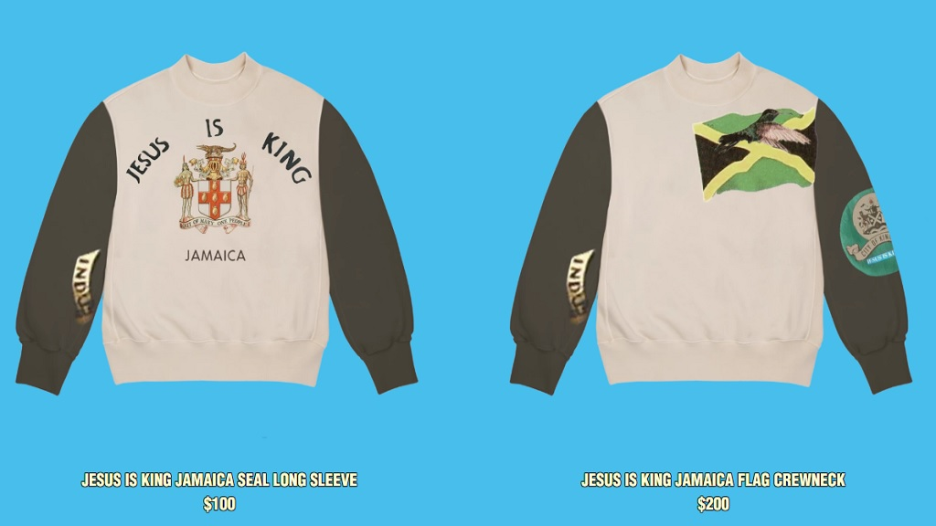 Shirts being offered on sale at Kanye West's online store after the US rapper's performance at Emancipation Park on Friday.
