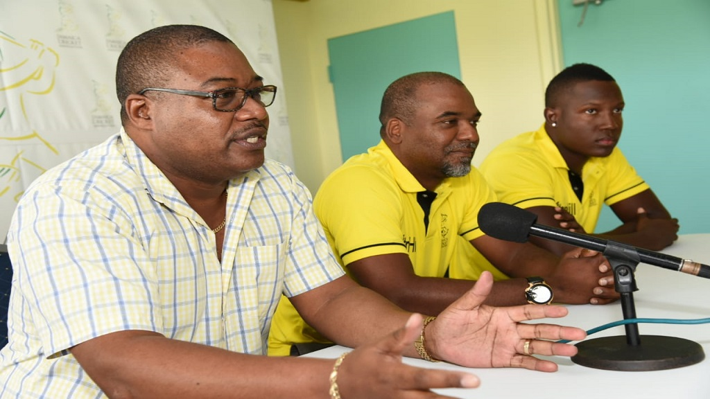 Chief Executive Officer of the Jamaica Cricket Association (JCA) Courtney Francis (left) makes a point at a special Jamaica Scorpions Press Conference on Thursday, October 31 at the JCA Director's Suite at Sabina Park. Also in attendance are captain Rovman Powell (right) and head coach Andre Coley  (centre).