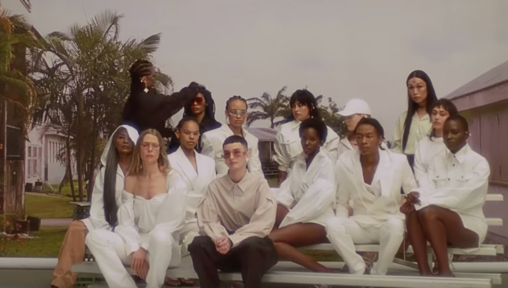 Rihanna and models at The Combermere School during the Fenty Launch video.