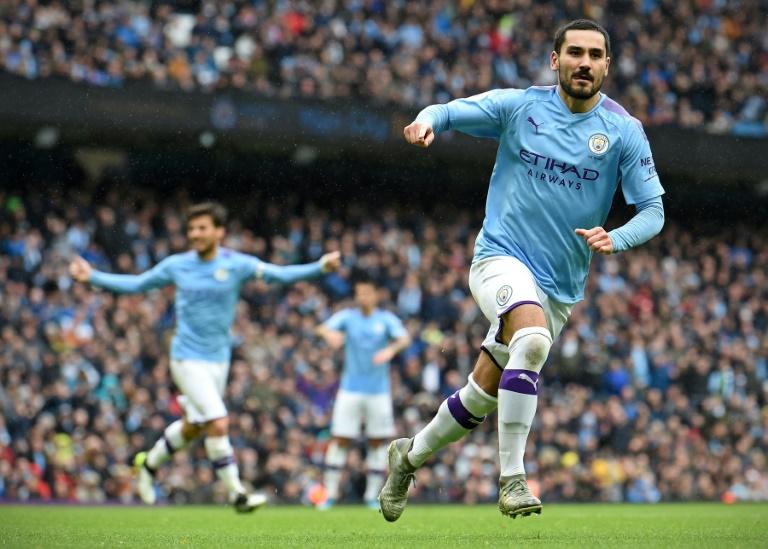 Le milieu allemand de Manchester City Ilkay Gundogan vient de marquer contre Aston Villa, le 26 octobre 2019 à Manchester