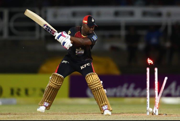 Darren Bravo is bowled for 6 by Hayden Walsh in the TKR's 134-8