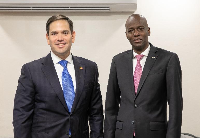 Photo du sénateur Marco Rubio avec le président Jovenel Moïse lors de sa visite en Haïti en mars dernier/ Crédit: Ambassade des USA en Haïti